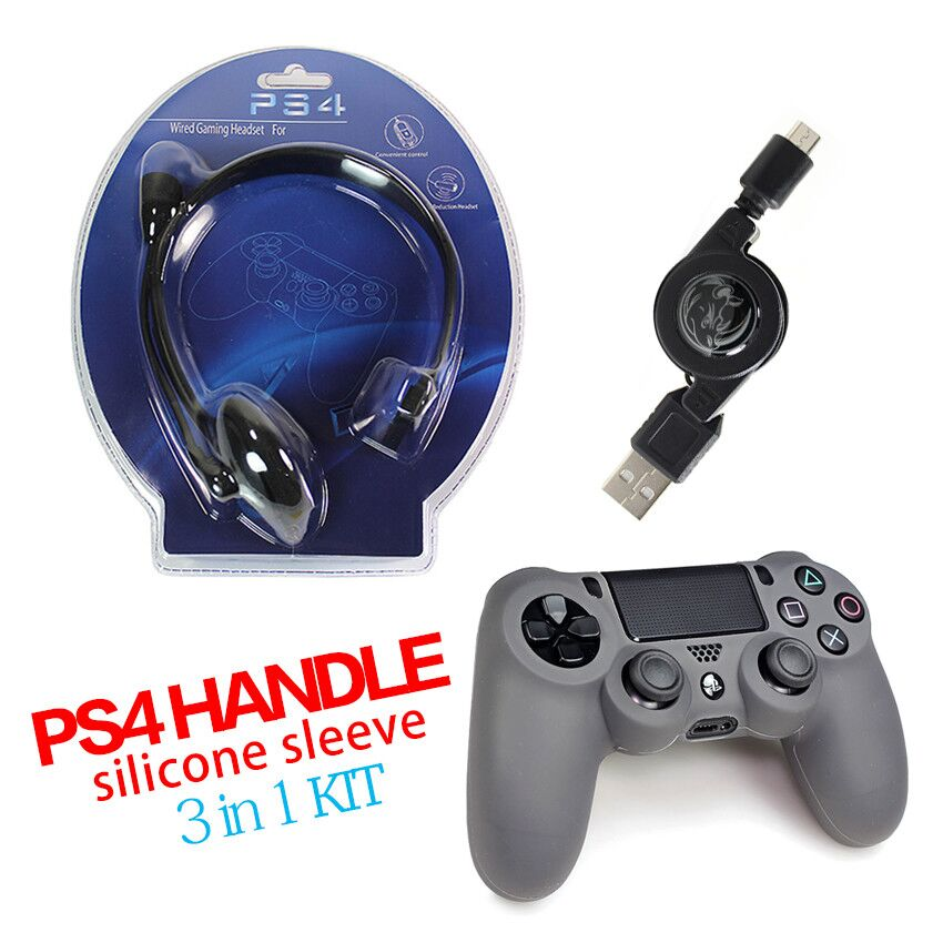 Game accessories with Controller Shell+Cable + Wired earphone headphones gaming headset for PC & Playstation for Playstation PS4