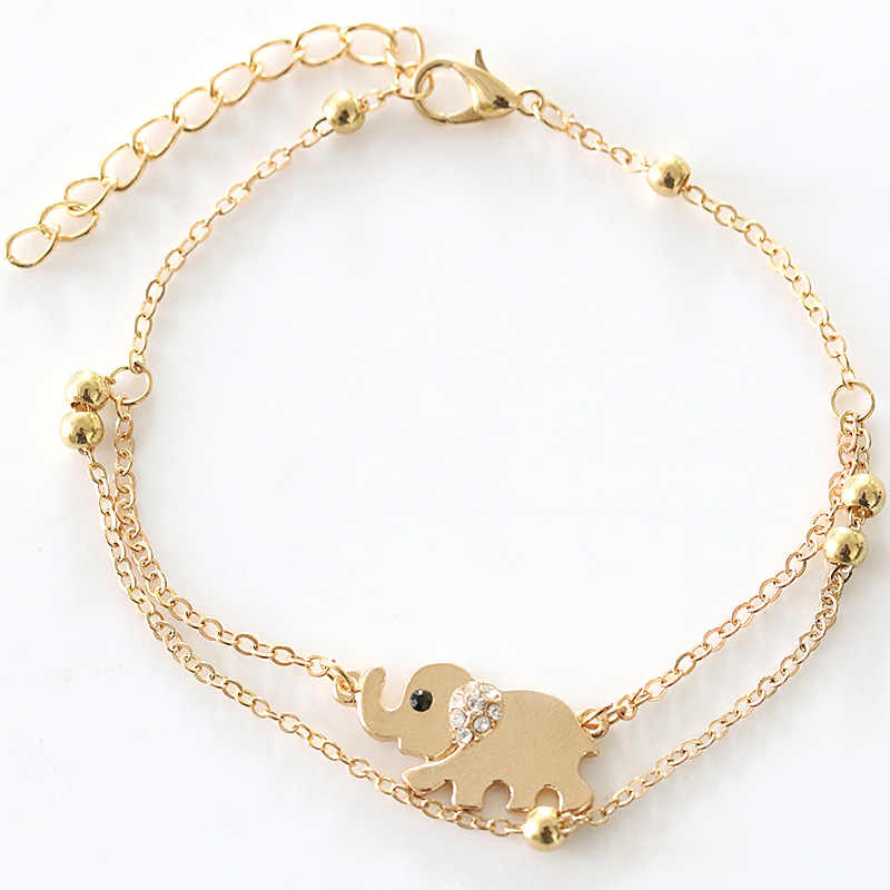 New Sexy Sandalias Beach Rhinestone Elephant From  Barefoot Chain Ankle Bracelet Foot Jewelry Anklets For Women