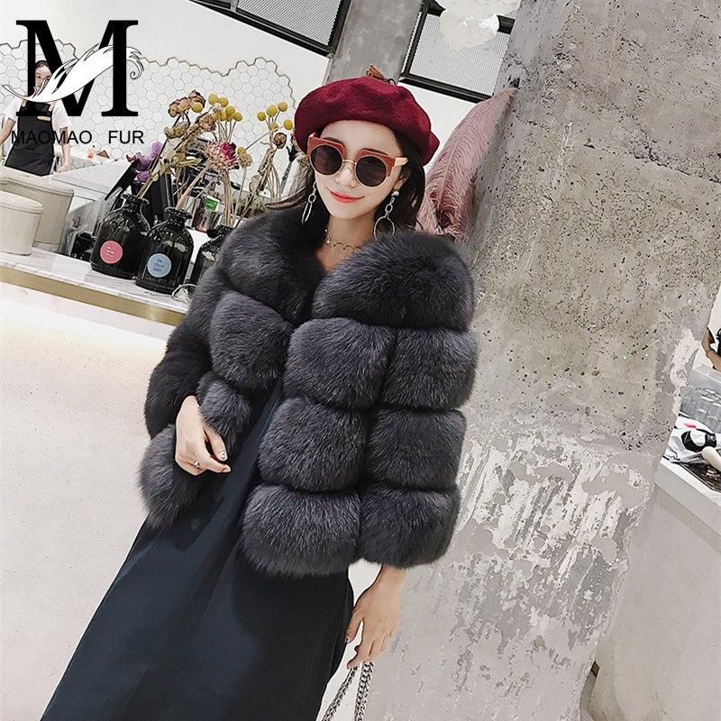 2017 Real Fur Coat Women Natural Fox Fur Coats Hot Sale Female Fashion Winter Warm Overcoat High Quality Fox Fur Jackets
