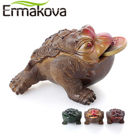 ERMAKOVA 3 Different Styles Resin Color-Changing Lucky Money Toad Figurine Frog Statue with Coin Feng Shui Tea Pet Home Ornament
