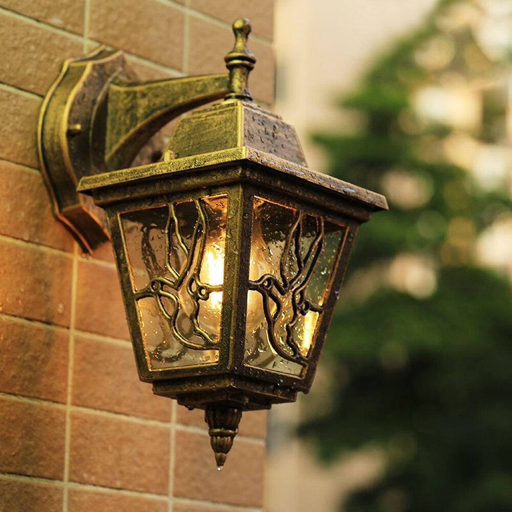 Lámpara LED de pared para jardín, iluminación Exterior, lámparas de pared para Patio Exterior, bronce, apliques exteriores E27, lámpara impermeable de calle para Patio