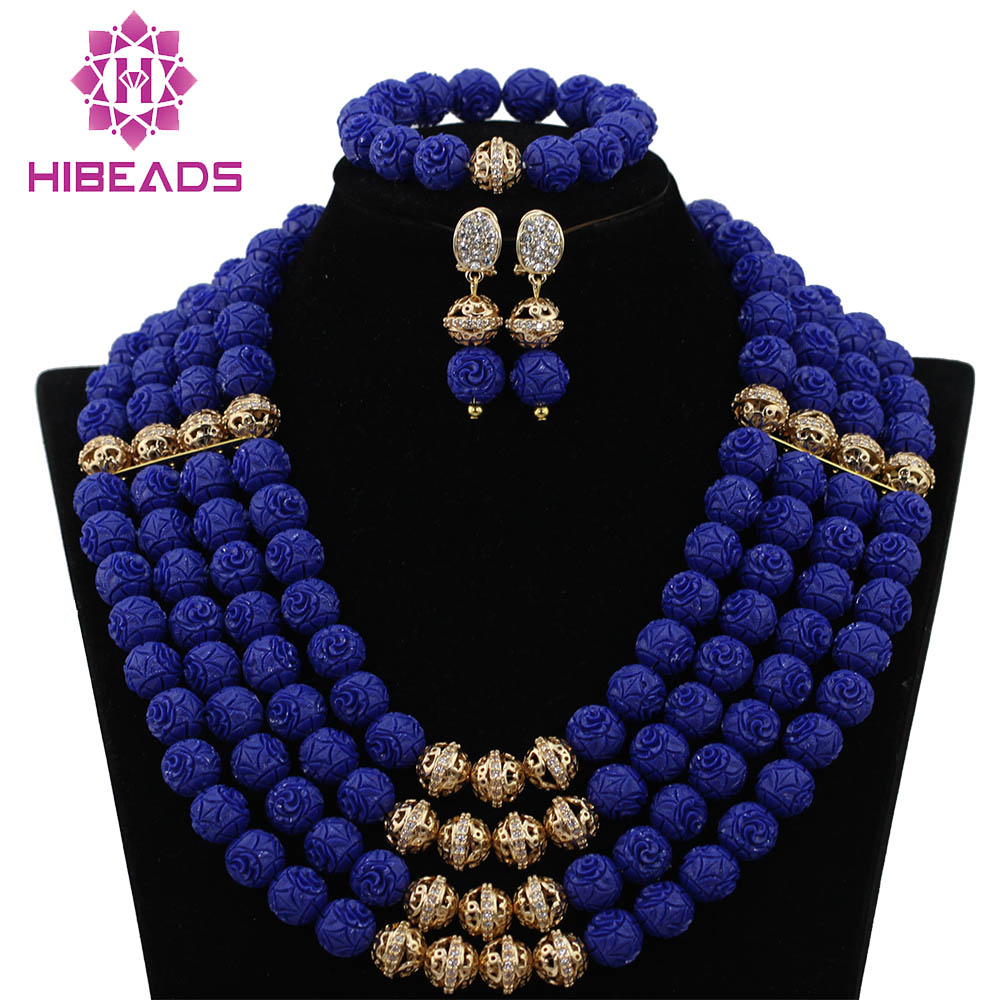 Charms Blue African Wedding Beads Jewelry Set Rhinestone Zircon New Beaded Nigerian Indian Jewelry Free Shipping CNR418