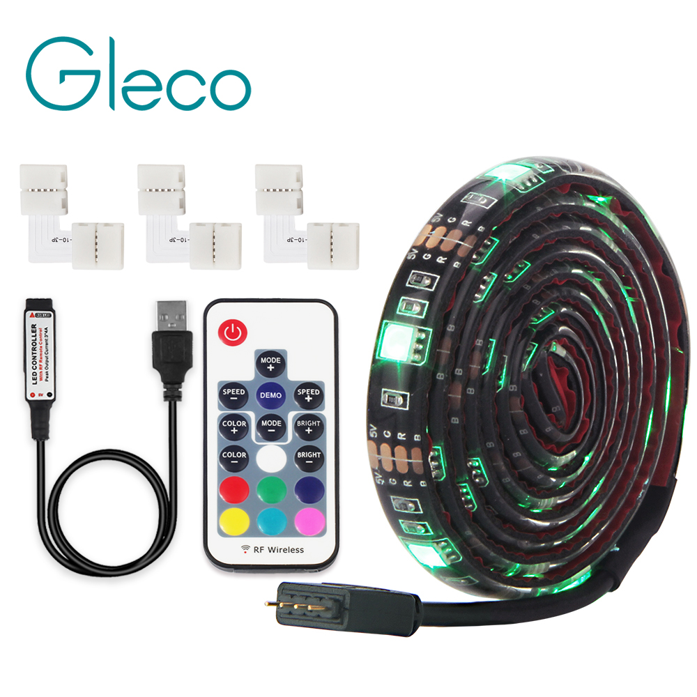 USB LED Strip 5050 RGB With 4Pin Corner Connector 1M 2M Flexible Strip Light Remote Control For PC Screen TV Background Lighting