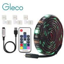 Taśma LED USB 5050 RGB z 4Pin złącze narożne 1M 2M elastyczny pasek światła pilot zdalnego sterowania dla PC ekran oświetlenie tła do tv