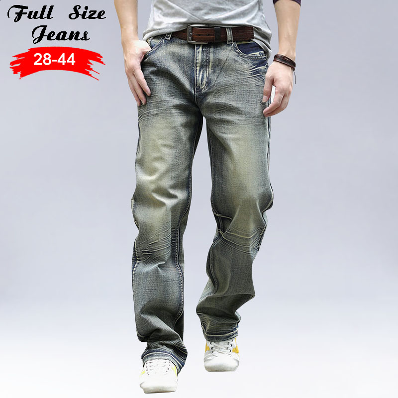 Designer New Plus Size  Mens Destroyed Jeans 42 44  5XL 6XL 7XL Big Size Vintage Retro Wid leg Ripped Jeans Brand Denim Jeans drizzte summer fashion mens jeans stretch denim plus size jeans shorts short pants trouser size 36 38 40 42 44 46 big and tall