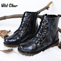 2017 Winter Warm Leather Boots British Men Boots Genuine Leather Motorcycle Boots Size 44 Zipper coturnos masculinos