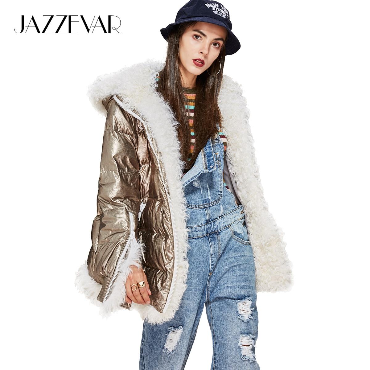 Jazzevar новая зимняя высокая мода Мода Женская Футуристический дизайн стильный серебристый пуховик Роскошный овечьей шерстью куртка с капюшоном парка