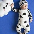 Baby Girl мальчики Детский Комбинезон + шляпа Мода облака Девушки Одежда Наборы Roupas Bebes Новорожденных детская Одежда Милый Ребенок Девочек Одежда