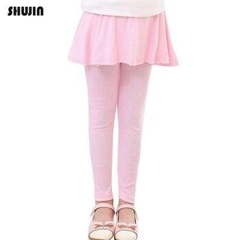 df10b614e Shujin 2019 faldas de bebé para niñas pantalones de fondo para niños Otoño  Invierno Leggings de algodón para niños con falda entallada