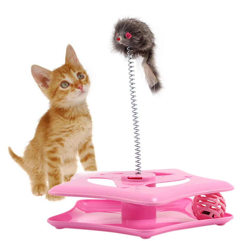 Cute Cat Animals Toys Wholesale New Style For Small Animal Pet Toy Round Shape Funny Cat Turntable Cat Toy Ball