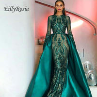 Elegant Dark Green Long Sleeve Evening Dresses With Detachable Train Sequin Moroccan Kaftan Muslim Formal Party Evening Gowns