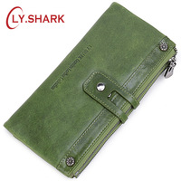 LY.SHARK Genuine Leather Wallet Women Coin Purse Lady Wallet Female Credit Card Holder Clutch Bag Money Long Wallet Phone Green