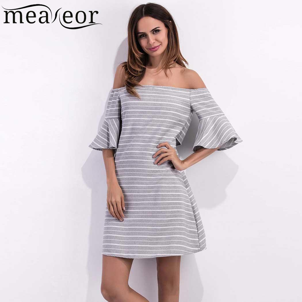 Off 3/4 Bell Sleeve Striped Women The Shoulder A-Line Casual Dress