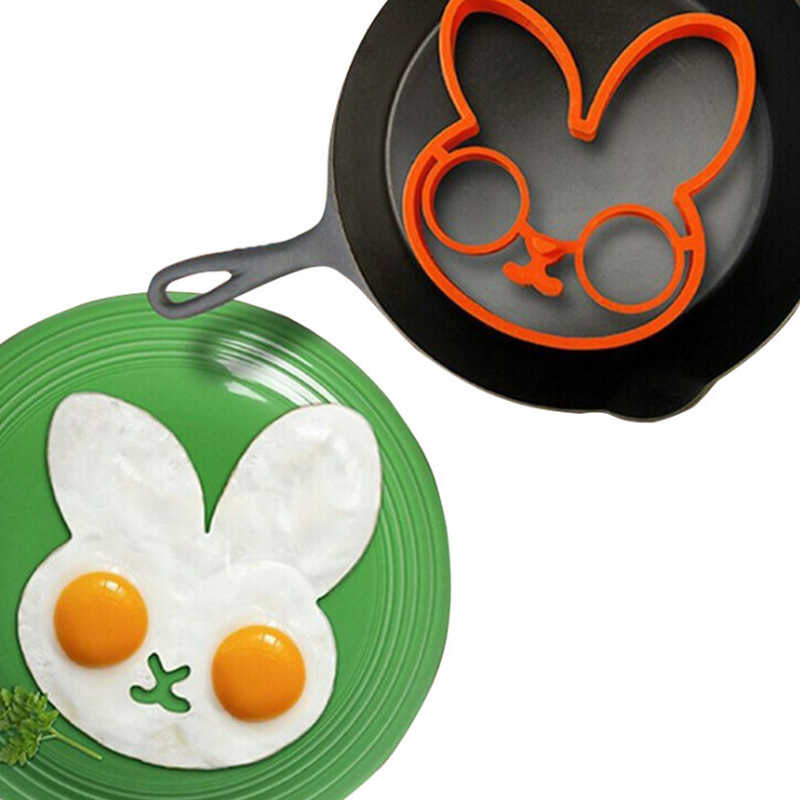 Putih Kelinci Thickersilica Gel Bentuk Untuk Menggoreng Telur Alat Sarapan Cetakan Omelet Perangkat Pancake Cincin Telur Berbentuk Alat Dapur