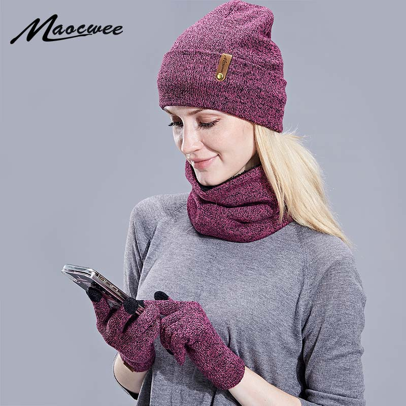 New Knitted Winter Hat Scarf Gloves Set Women Thick Touch Screen Glove Beanies Ring Scarf Female For Girls Gift