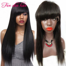 150 density Lace Front wig with Bangs Silky Straight human hair wigs Brazilian virgin hair Full Lace wig for black women