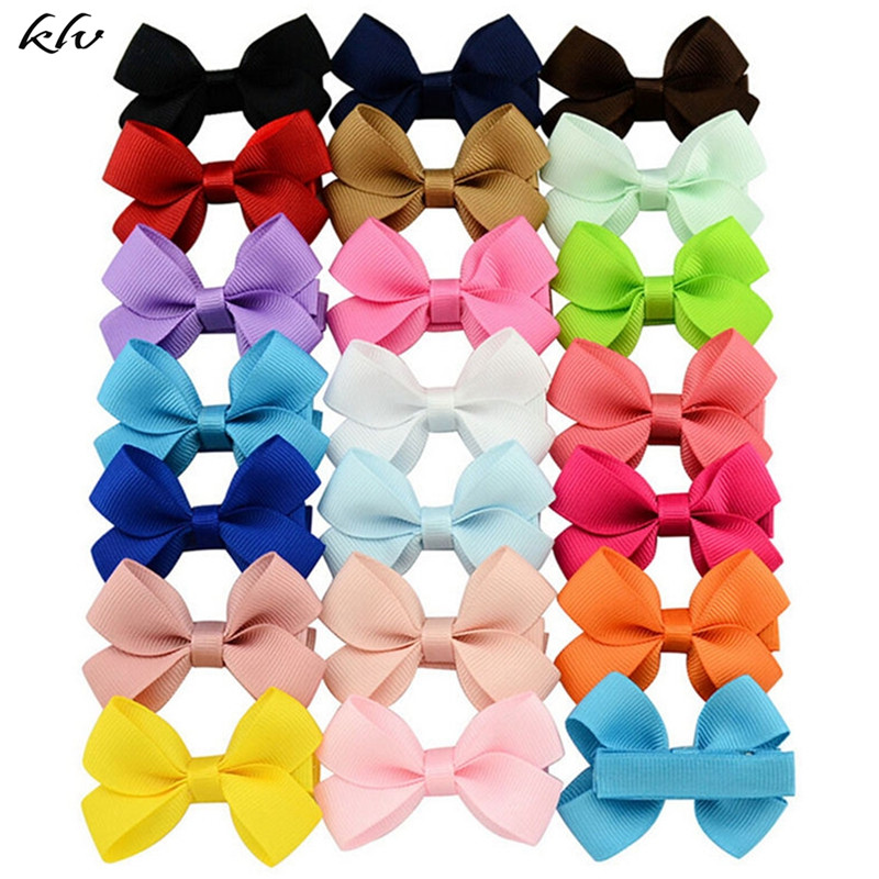 20pcs Cute Hair Bows Boutique Alligator Clip Grosgrain Ribbon For Girl Baby Kids Lovely Baby Accessories