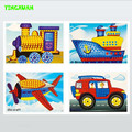 HAPPYXUAN 4 pcs/lot Large Eva Mosaic Art Sticker Children Early Learning Educational Puzzle Kindergarten Toys for Kids 3-6 years