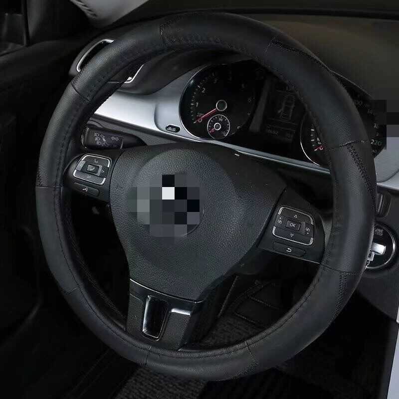38cm Cowhide Car Steering Cover For Honda Vw Couvre Universal Embossing Leather Car-styling Steering Wheel Covers