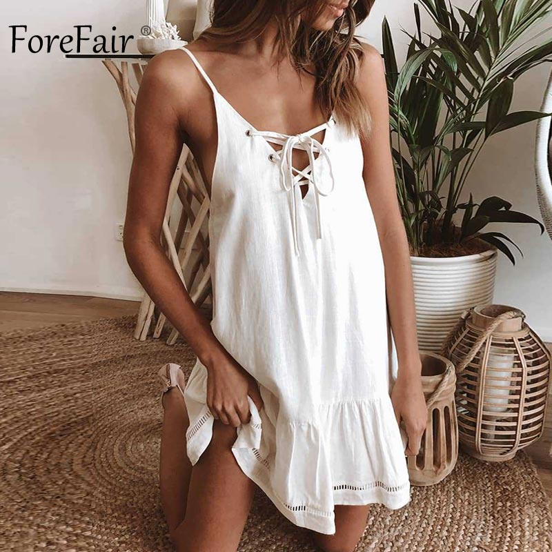 Forefair Summer Cotton Linen Dress Women A Line Mini (5)