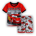 2016 Boy's Clothing Set for Summer Baby Boys pajamas suit Children's popular Cartoon Car Kids sleepwear cotton t-shirts+shorts