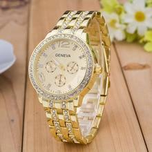 Hot Sale Geneva Brand Luxury fashion Gold watch women ladies men Crystal dress quartz wrist watch Relogio Feminino Montre Homme