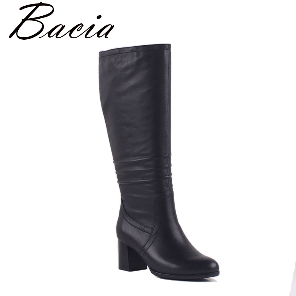 Bacia Etra big size Top 42cm Genuine Leather Boots Short Plush Russion Classical Style knee high boots For Women Size35-41 MB004 lucky john croco spoon big game mission 24гр 004