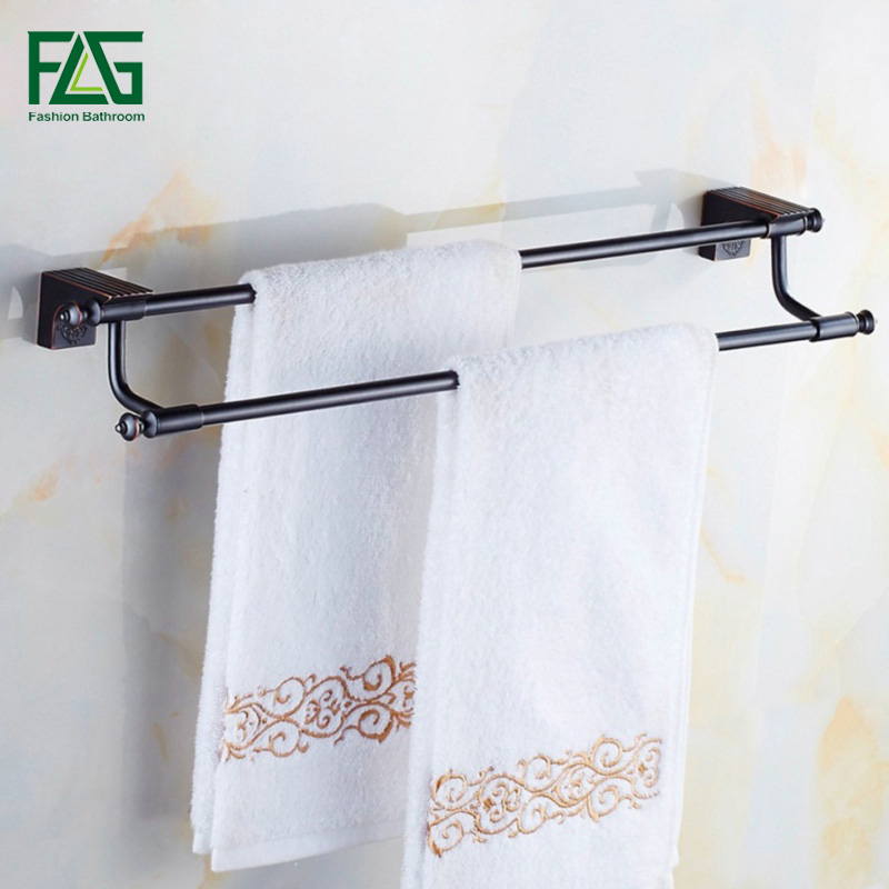 FLG High Quality Bathroom Accessories Oil Rubbed Bronze Bath Double Towel Bars Towel Hanger Wall Mount Black Towel Holder 81902 best quality oil rubbed bronze black bath