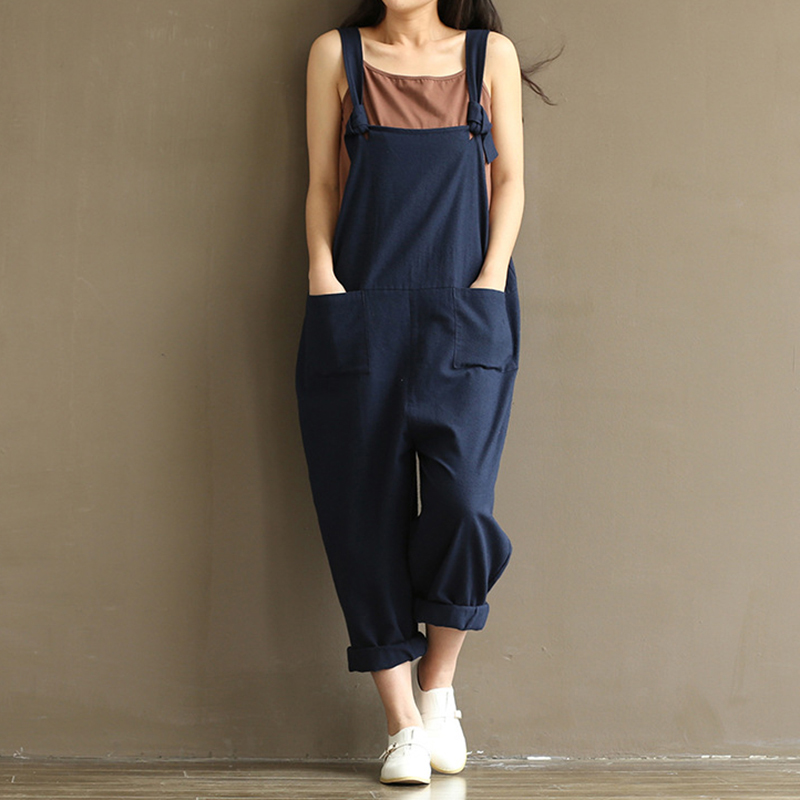 Loose Jumpsuit 2018 Plus Size WomenRomper Harem Jumpsuits Vintage Sleeveless Backless Casual Solid Overalls Paysuits Streetwear