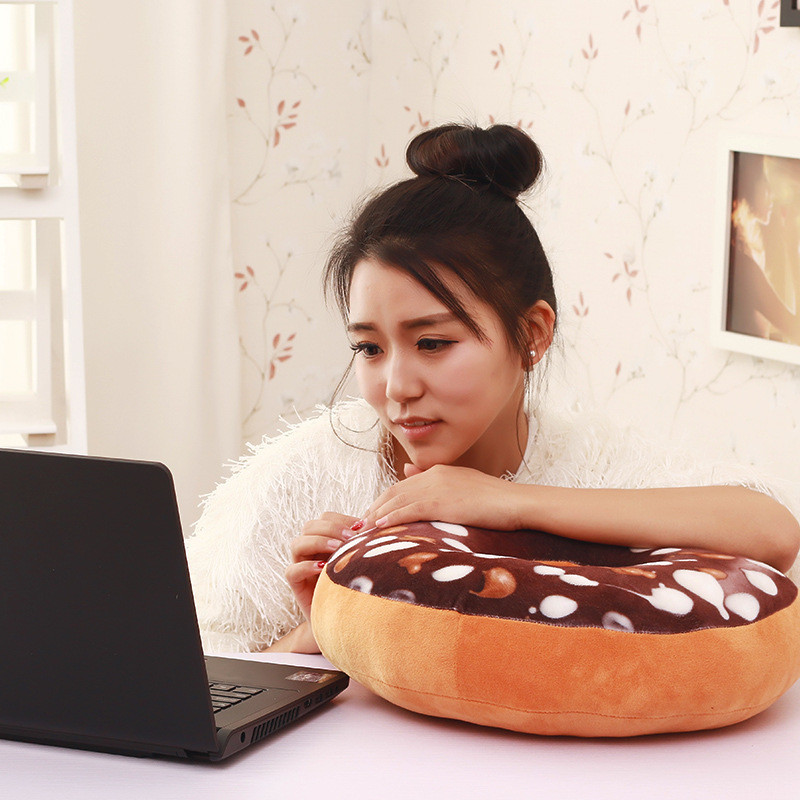 40cm Soft Decorative Cute Donut Simulation Cushion Soft Plush Pillow Cover Without Stuffed Seat Pad 2