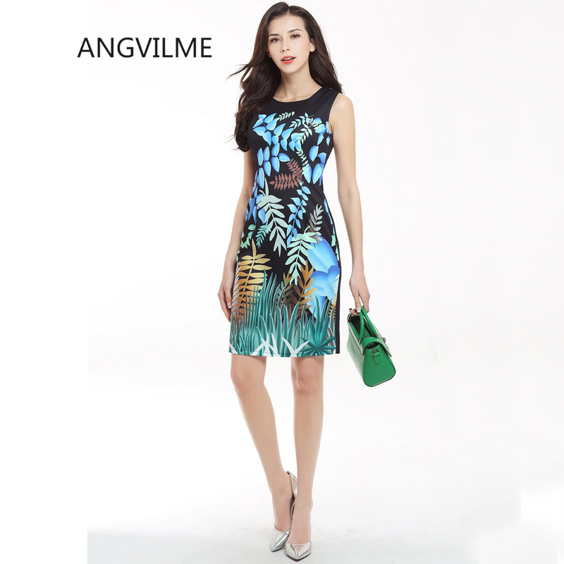 Buy Cheap ANGVILME New 2017 Women summer Cute bodycon Dress Tropical forest Leaf Wild vestido young design cover hips sexy dress