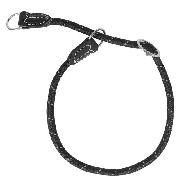 Reflective Nylon P chain dog Collar Handmade leather dog Collars black Round rope soft adjustable dog neck chains length 60cm