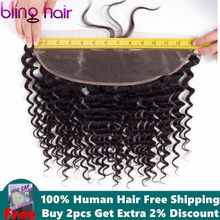"bling hair Deep Wave Frontal 100% Remy Brazilian Human Hair Lace Frontal Closure 13*4 With Baby Hair Natural Black Color 8""-22""(China)"