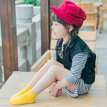 Children 1-3 years of age with new candy color roll edge cotton childrens boat socks