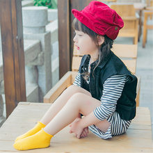 Children 1-3 years of age with new candy color roll edge cotton children's boat socks(China)