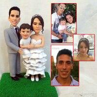 OOAK семейные подарки пользовательские фигурка из всей семьи невесты и жениха Торт Топперы с дети Полимерная глина кукла подарок ручной рабо