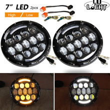 CO LIGHT 105W Running Lights 7 Inch Headlights Angel Eyes H4 Hi Lo 9-30V for 4X4 Lada Niva Uaz Hunter Nissan Land Rover Hummer(China)