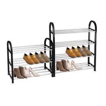 Простой многослойный ментальный обувной стеллаж классический черный все размеры складной переносная стойка для обуви для прихожей гостин...