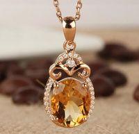 New Design Citrine Pendant Necklace Solid 14Kt Yellow Gold Real Diamond Citrine Pendant 585 Yellow Gold