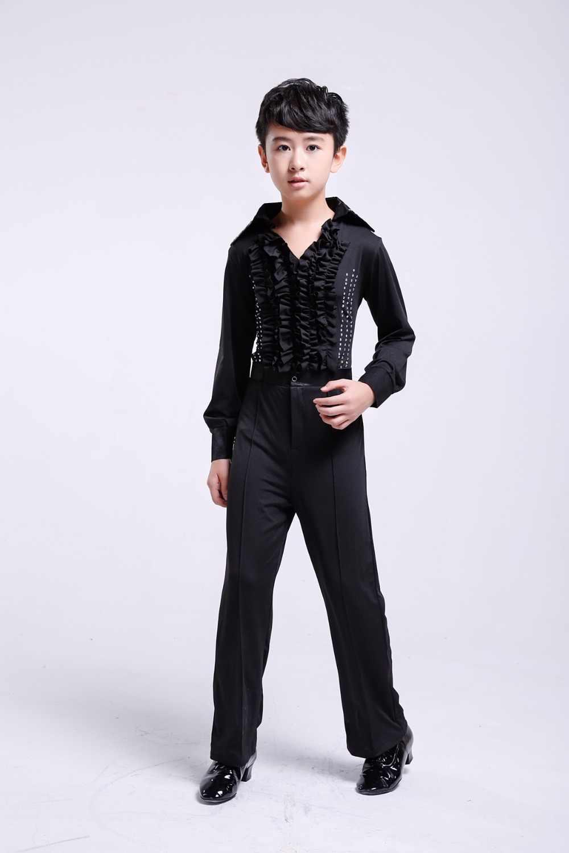 Танцевальные костюмы для мальчиков, детские штаны для латинских танцев + рубашка, для мальчиков, для бальных танцев, современные штаны, Одежда для танцев, танго, Самба
