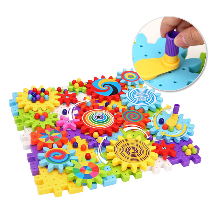 Children Baby Kids large particles rotating toys Gears Assembled ...