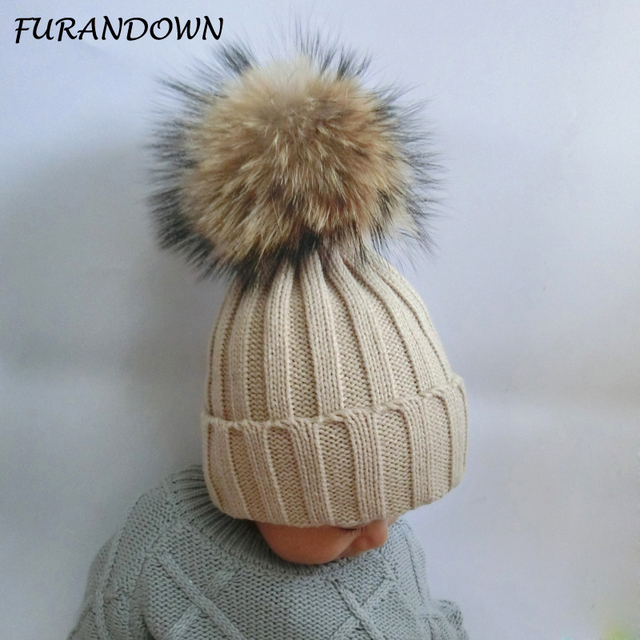 FURANDOWN 2017 Fashion Children Winter Raccoon Fur Hats 100% Real 15cm Fur pompom Beanies Cap Natural Fur Hat For Kids Children