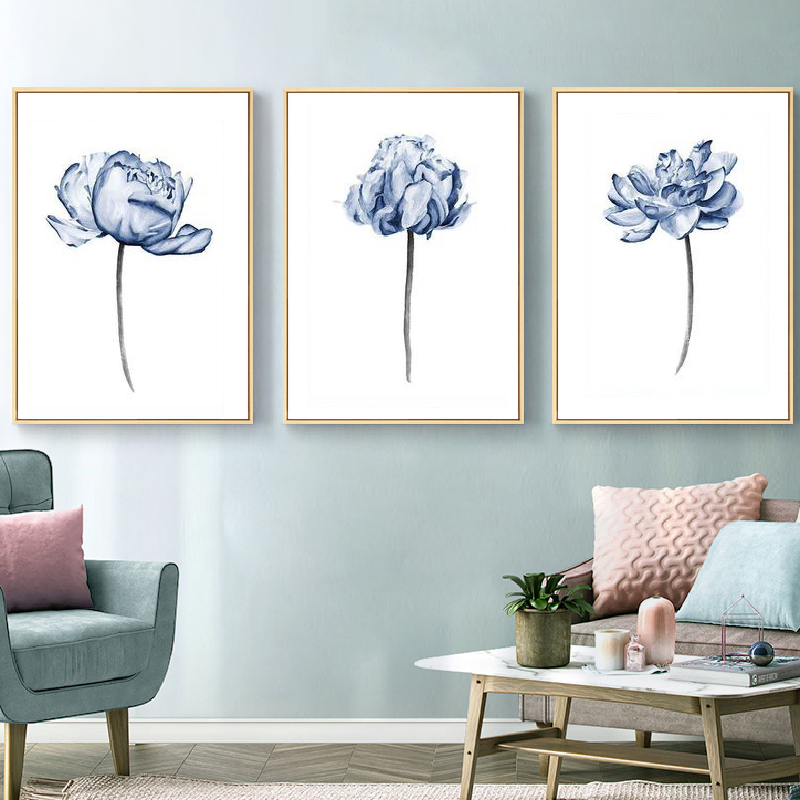 Watercolor Flowers Posters Print Kitchen Wall Decor Blue Peony Bedroom Wall Art Canvas Painting Pictures Living Room Decoration