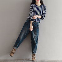 New Baggy Jeans For Women Vintage Distressed Regular Ripped Jeans For Girls Denim Harem Pants Woman