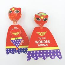 36pcs/set Wonder Woman Candy Lollipop Decoration Card Wedding Supplies Kids Birthday Party Gift Accessories