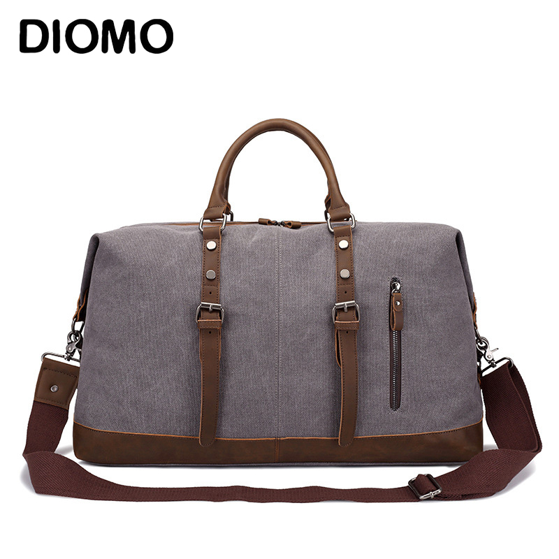 DIOMO Men Travel Bags Canvas Luggage Duffle Bag Weekend Overnight Bag Large Capacity with Shoulder Strap large capacity men hand luggage travel duffle bags canvas travel bags weekend shoulder bags multifunctional overnight duffel bag