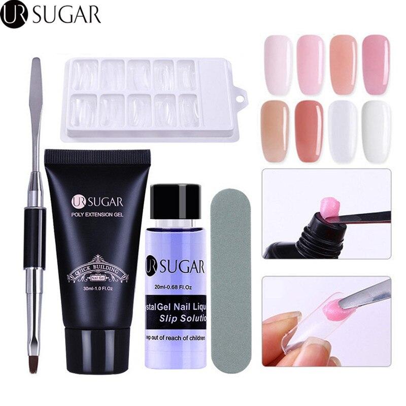 UR SUCRE 5 pcs Poly Gel Ensemble UV Builder Gel Extention Cristal Gelée Polygel Rapide Liquide et un Slip Solution Manucure nail Kit