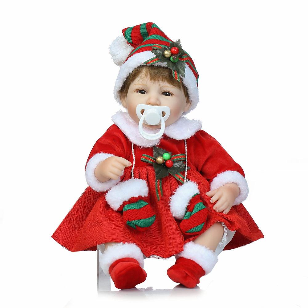 NPKCOLLECTION 40cm Silicone reborn baby doll toy girl brinquedos birthday gift for kid Cute Princess Doll With Christmas Clothes [mmmaww] christmas costume clothes for 18 45cm american girl doll santa sets with hat for alexander doll baby girl gift toy