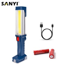 USB قابلة للشحن 18650 مصباح يدوي 2 طرق COB LED المغناطيسي مصباح عمل خطاف دوار سيارة إصلاح Worklight قوة البنك فانوس