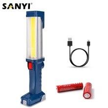 Перезаряжаемый USB фонарь 18650, 2 режима, COB светодиодный магнитный рабочий светильник, поворотный крючок, Ремонтный рабочий светильник, внешний аккумулятор